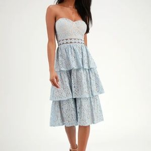 Lulu's Light Blue Strapless Lace Dress